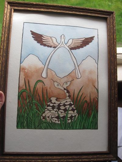 "$100 reward: Original painting (framed): ""Two of Bones"" by Annie Murphy"