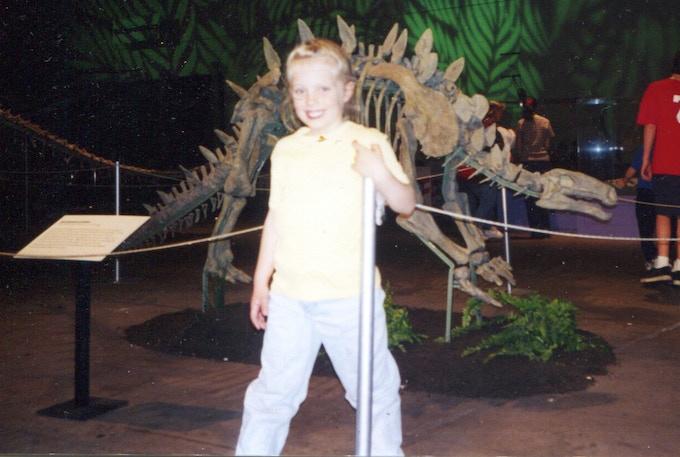Lisa, at 5 years old, visiting the dinosaurs