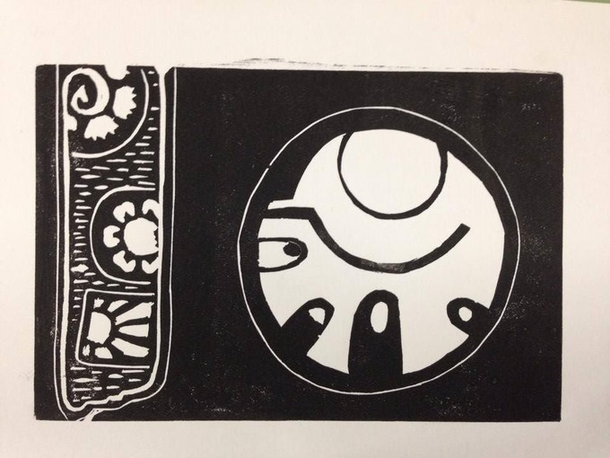 """Sun From the Well"" by Andrei Hedstrom 4""x6"" linocut print"