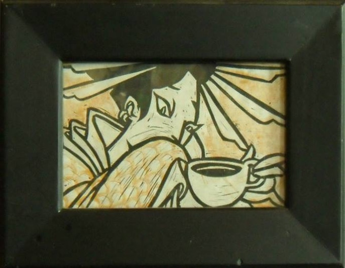 """Coffee Geisha"" by Sonny Wong 2 color block print on paper in a recycled frame"