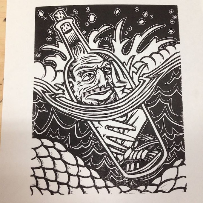 """Wong in a Bottle"" by Sonny Wong Blockprint on paper."