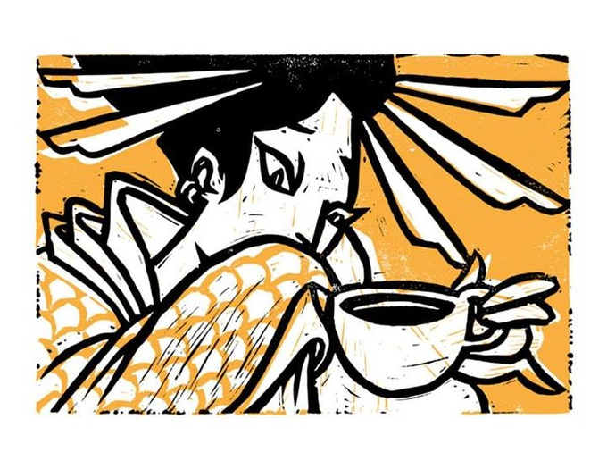 """Coffee Geisha"" by Sonny Wong 2 color blockprint on paper"