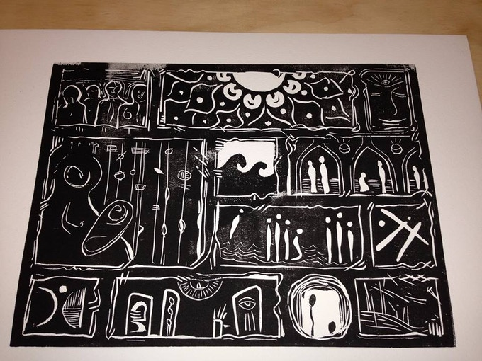 """Sacred Stories"" by Andrei Hedstrom 9""x12"" linocut print"