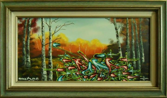 "SOLD IN A MULTI REWARD PLEDGE ""Landscape with Nana"" by Sonny Wong Oil and Acylic on canvas"