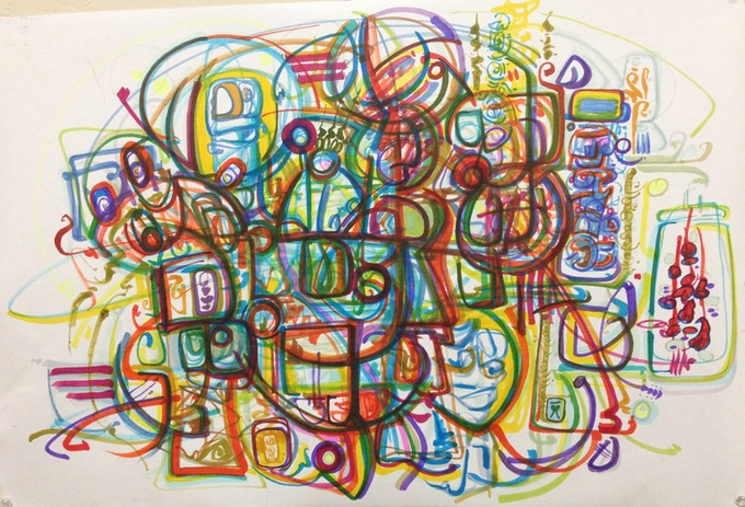 "SOLD IN A MULTI REWARD PLEDGE ""Communication"" by Andrei Hedstrom - abstract marker 24""x18"" ORIGINAL"