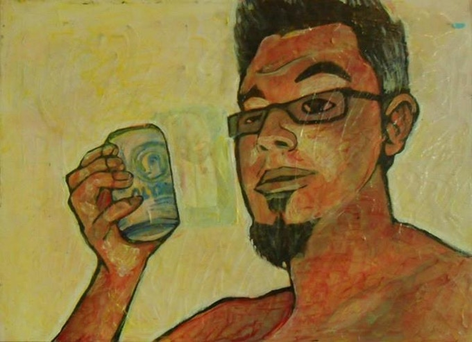 """Selfie with Oly"" by Sonny Wong Acrylic on canvas."