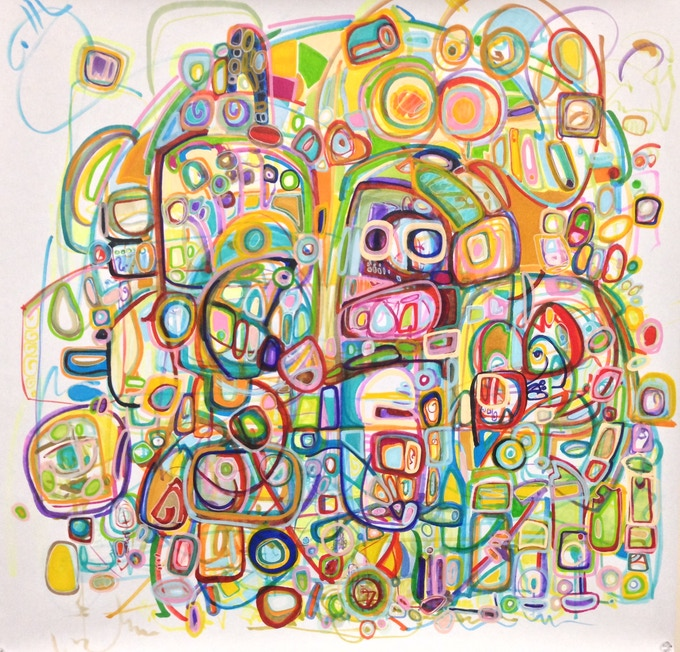 "SOLD IN A MULTI REWARD PLEDGE ""Monkey in the middle"" by Andrei Hedstrom - abstract marker and paint pen 24""x24"" ORIGINAL"