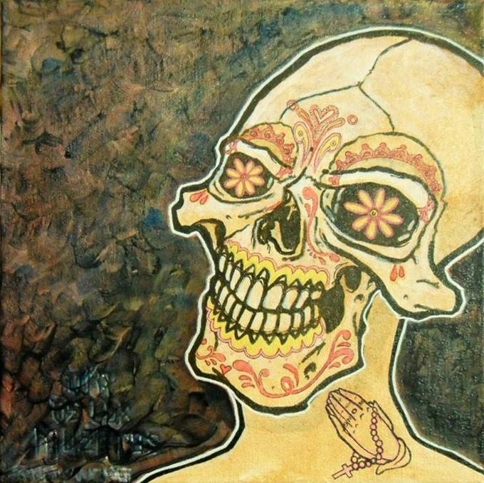 """Muerto Skull"" by Sonny Wong Acrylic on Canvas"