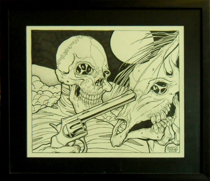"""Kill A Dead Horse""  by Sonny Wong  Pen and Ink on paper.  Original Album cover art for The Dirty Rats.  In an aluminum and glass frame."