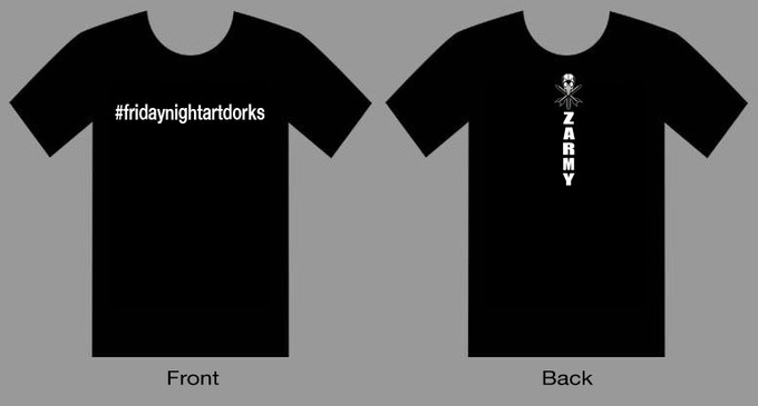 "#fridaynightartdorks ""Zarmy"" Edition t-shirt mock-up"