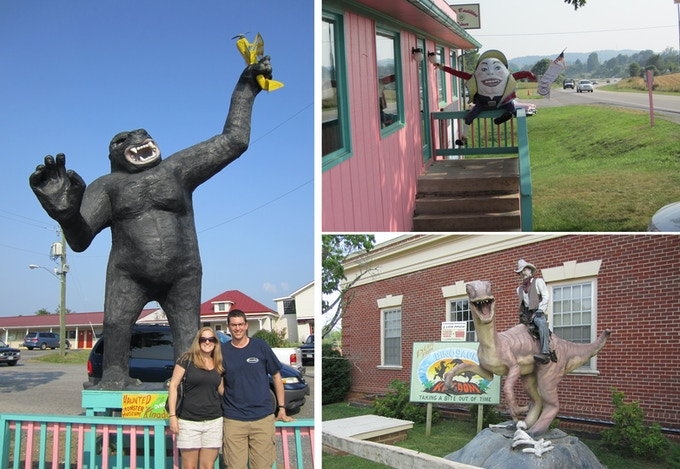 LEFT: My boyfriend, Mike, and I with King Kong at the Pink Cadillac Diner (2011). TOP RIGHT: Humpty Dumpty greets us at the Pink Cadillac entrance. BOTTOM RIGHT: A teaser for Dinosaur Kingdom at the Natural Bridge gift shop