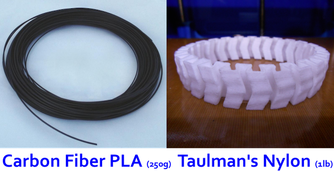 All kickstarter backers that pledged to the printer levels will receive carbon fiber and nylon filament!