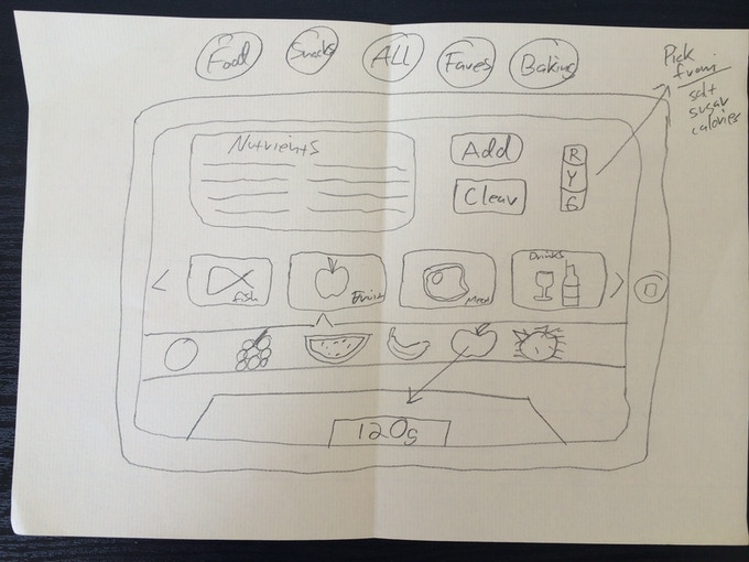One of the first app mockups