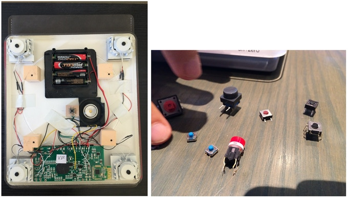 Left: organizing the internals. Right: choosing the best button mechanism