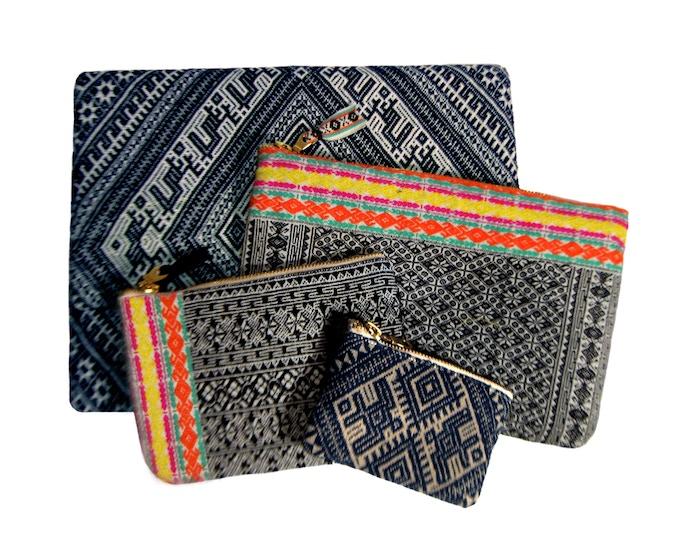 Front to Back: Dimen Wallet, Basha Pouch, Zhaoxing Travel Bag, Hongzhou Folio