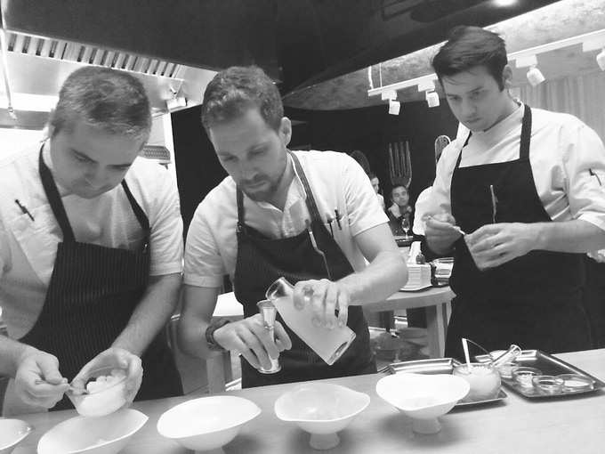 Mercado's culinary director Scott Kollig (right), collaborating with the team at Minibar by José Andrés