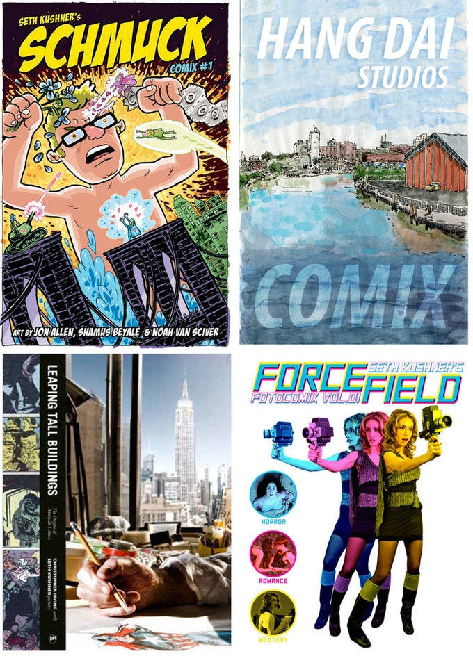 Seth's books, SCHMUCK COMIX, HANG DAI STUDIOS COMIX, LEAPING TALL BUILDINGS, FORCEFIELD FOTOCOMIX, all available as rewards