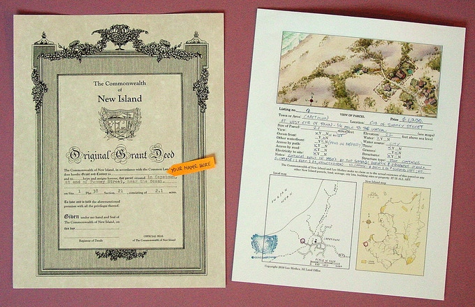 The deed and plat map that describe each New Island property.