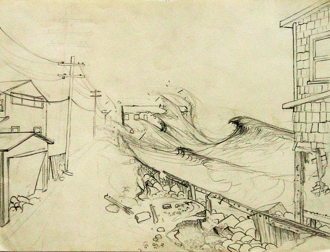 """Waves Hitting Surfside"", a pencil drawing (1961) from the ""Real World and My World"" chapter."