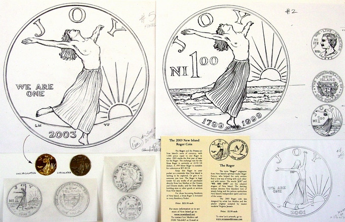 "Original roger coin designs from the ""New Island"" chapter."