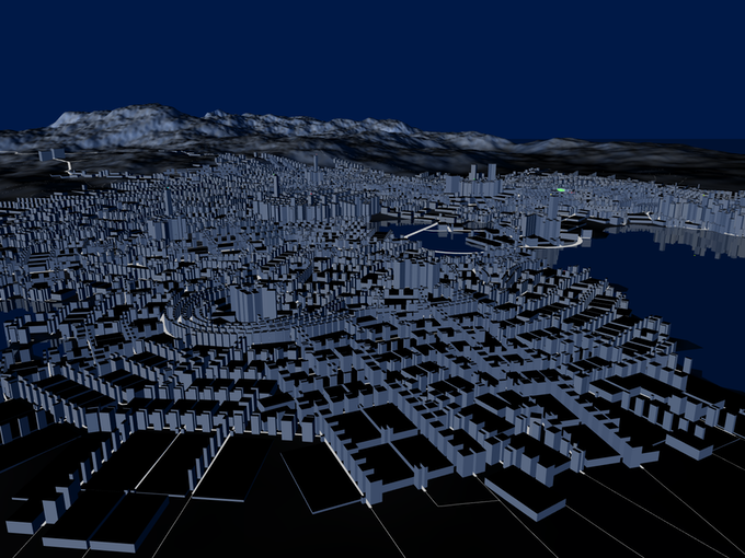 Overview of a procedurally generated city
