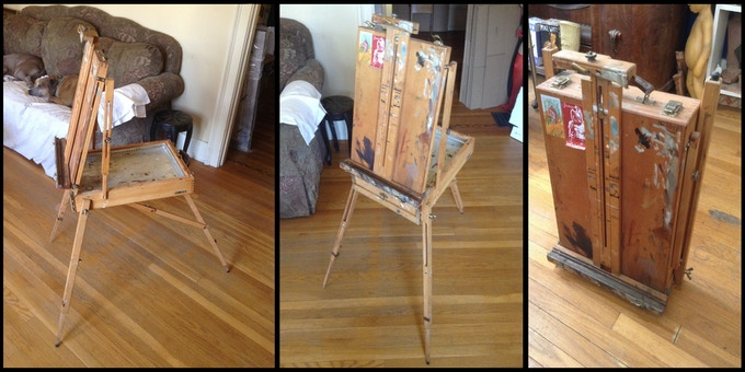 Three different angles of Chet Zar's Travel Easel