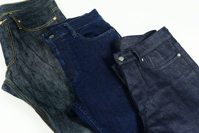 Unworn Slimbs with stock hardware*. Styles as shown from left to right: Selvage, Studio Blue, Downtown Dark. *See below for custom hardware goals