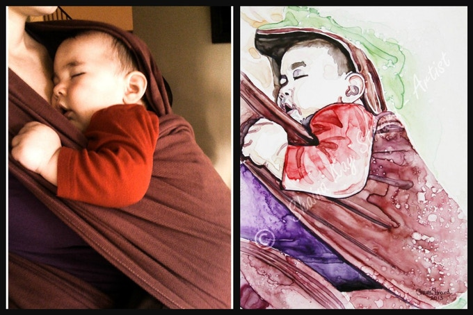 'Babywearing: A Non-Crappy Portrait' - 9 x 12 watercolor on YUPO paper for Amber Dusick
