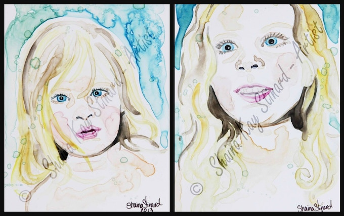 'Baily' and her sister 'Hannah'  - 5 x 7 watercolors on YUPO paper. Bailey's fight with Neuroblastoma & Opsoclonus Myoclonus Syndrome (OMS) has been rough, but she is doing well!  What a brave little girl and what an amazing family. Please check out their