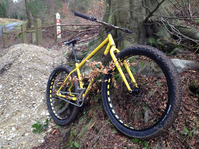 Prototype Rooster having been roosted around the trails of Dalby, North Yorkshire by Wayne at EDS bikes.
