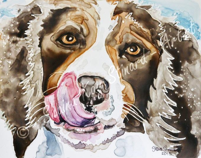 'Ziggy' -  8 x 10 memorial portrait, watercolor on YUPO paper