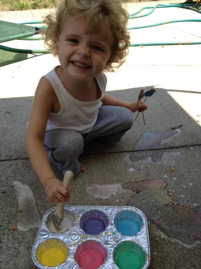 Jen using sidewalk chalk paint
