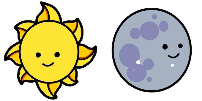 Initial vector art of Sun and Moon, created by Marianna Burgett