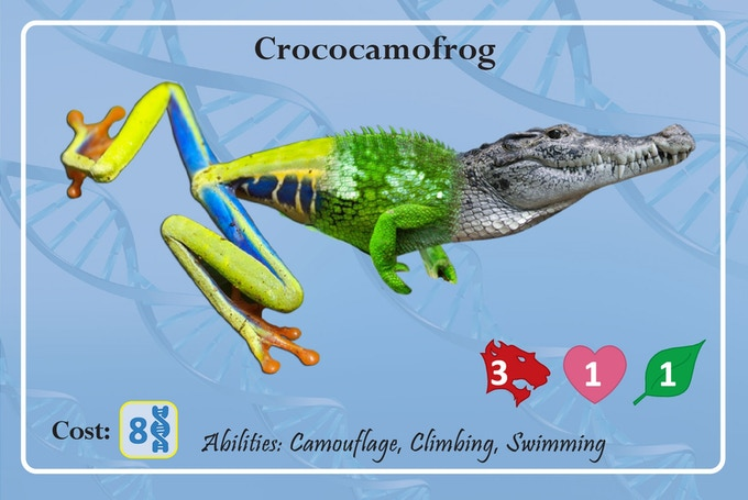 The Crococamofrog swims through its swampy home looking for a perch from which to ambush prey in its enormous jaws.