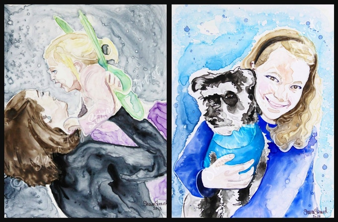 'Little Dancer' - 8 x 10 watercolor on YUPO.  'Anna and Bogie' - 9 x 12 watercolor on YUPO paper