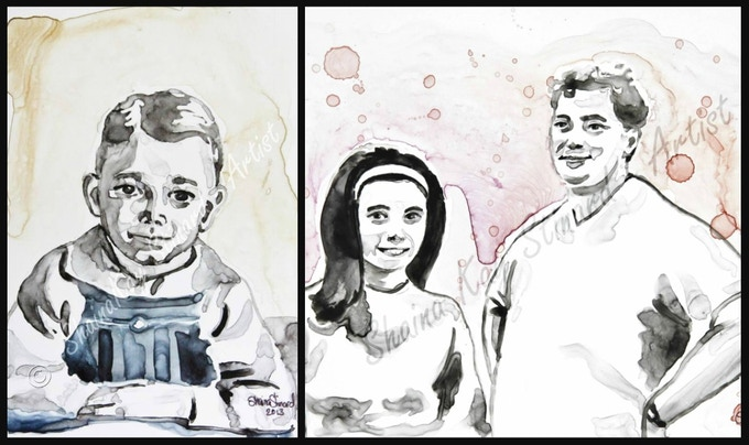 Old B&W photos can make amazing paintings.  'Days' Past' -5 x 7, portrait of a customer's father, as a child.  '70's Groove' - 8 x 10, a funky painting I did of a customer's parents.