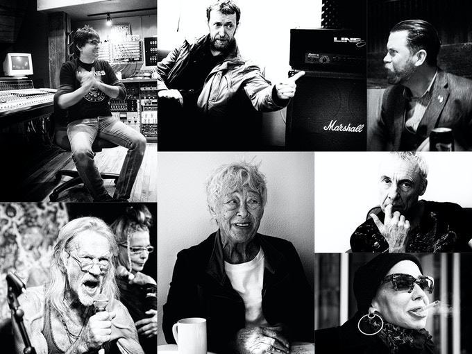 Clockwise from top left: Steve Albini, Deek Allen, Gavin Mcinnes, TV Smith, Little Annie, Vi Subversa and Penny Rimbaud