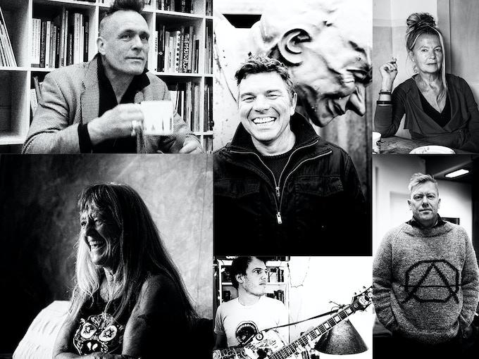 Clockwise, from top left: John Robb, Mark Wilson, Eve Libertine, Jón Gnarr, Jeffrey Lewis and Gee Vaucher