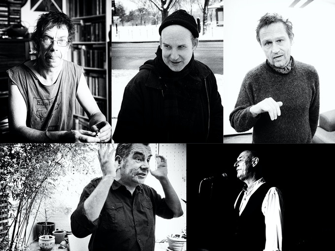 Clockwise, from top left: Dick Lucas, Ian MacKaye, Einar Örn Benediktsson, Steve Ignorant and Mark Stewart