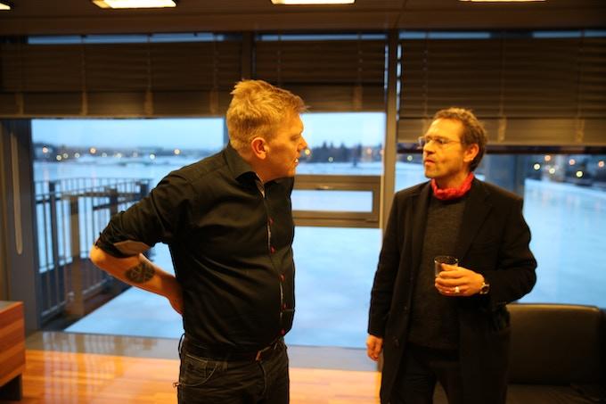 Jón Gnarr and Einar Örn Benediktsson in Reykjavík's government HQ