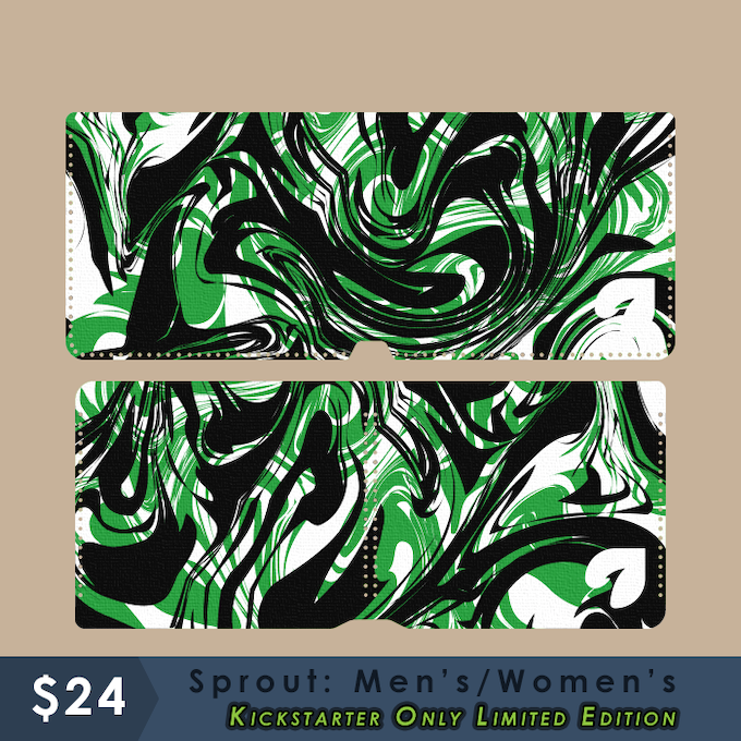 Kickstarter Limited Edition - Sprout: Men's/Women's - Black and green ink swirl!!  Tall or Wide - Black and green hemp cord.  Swirl pattern will be random.
