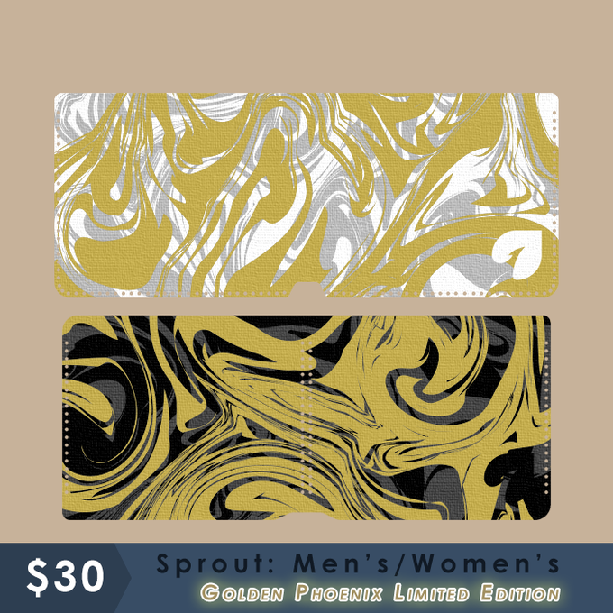 Golden Phoenix Limited Edition - Sprout: Men's/Women's - Metallic Gold and Silver ink swirl!!  White or black material.  Gold colored hemp cord.  Swirl pattern will be random.