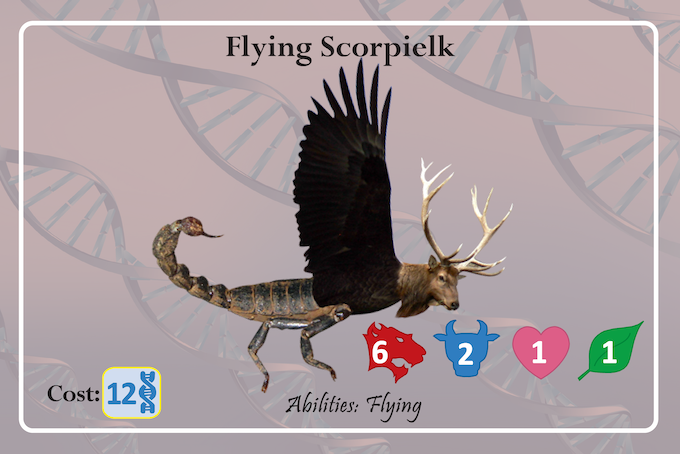 Though herbivorous, the Flying Scorpielk is aggressive & highly territorial. It uses its antlers & stinging tail both for protection against predators, and in fierce competition for a mate. Don't mess with it!