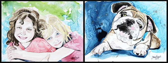 'Sister' - 9 x 12 watercolor on YUPO.  'Tank' - A memorial portrait, 9 x 12 watercolor on YUPO