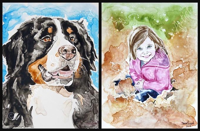 'Jackson' - 11 x 14 watercolor on YUPO.  'Natali' - 9 x 12 watercolor on YUPO.