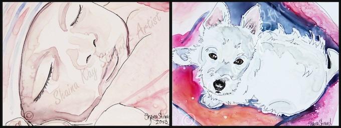 'Sophia' - 5 x 7 mixed media sketch on YUPO, newborn portrait.  ' Gracie Noelle' - 8 x 10 mixed media sketch on YUPO