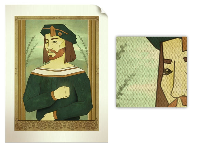 Print on cotton canvas of a Genio Renaissance character