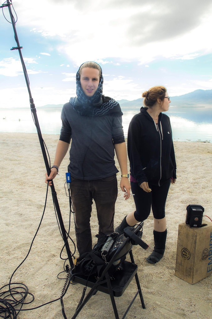 """Sound Recordist/Designer Jan Bezouska with his partner Ginge on the set of the 2014 short film """"Trying Not To Explode"""""""