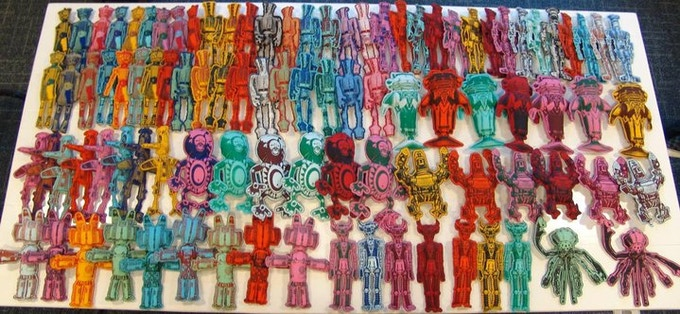 """10"""" Robot guys and Space Chimps. Bendable fabric dolls, each hand printed and sewn."""