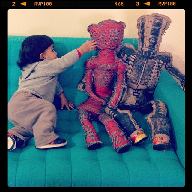 """Large-size, 36"""" robot dolls. Hand printed and sewn."""